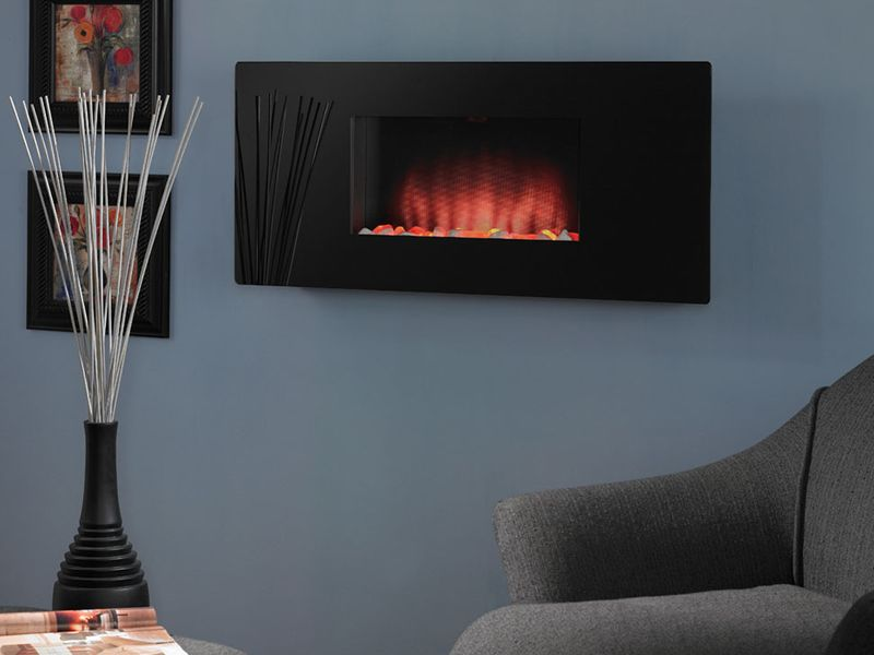 Double Sided Electric Fireplace On Custom Fireplace