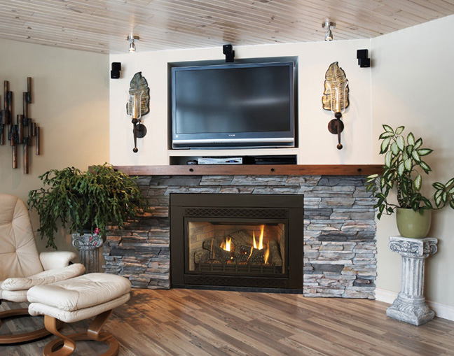 Small Gas Fireplace Insert Available On Custom Fireplace