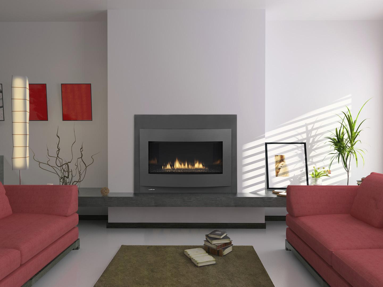 Vent Free Gas Fireplace Insert On Custom Fireplace