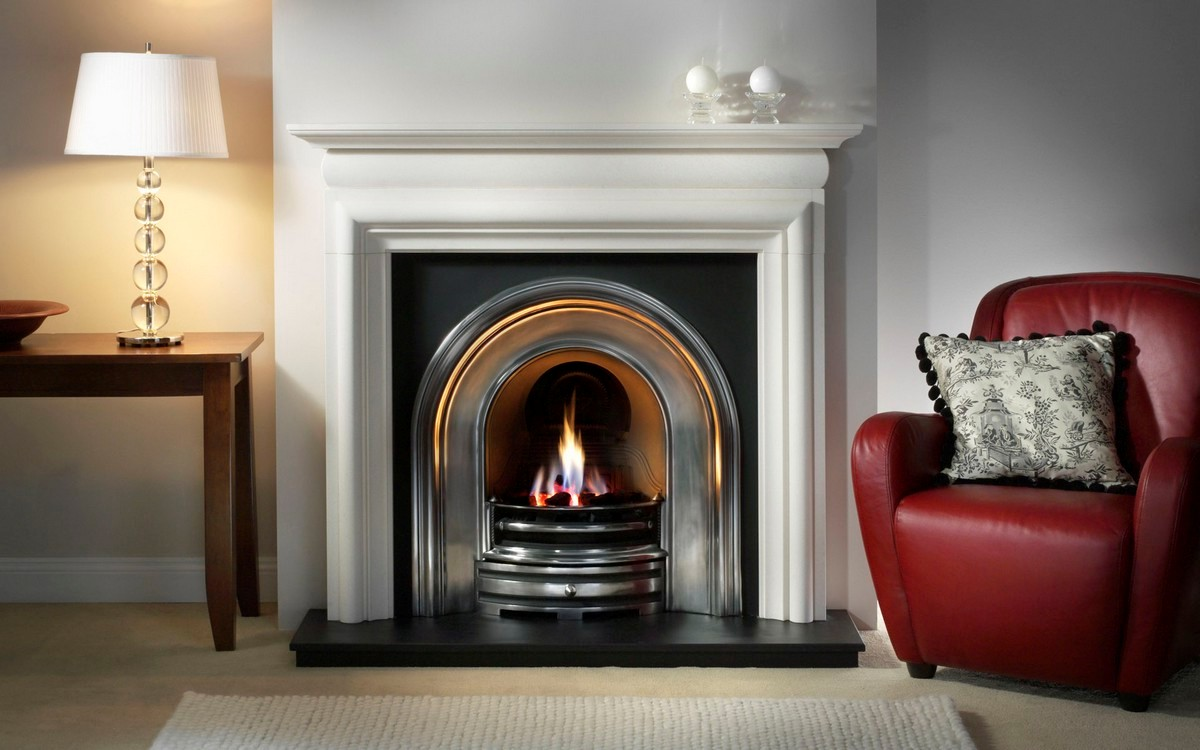 White Mantel Vent Free Gas Fireplace On Custom Fireplace