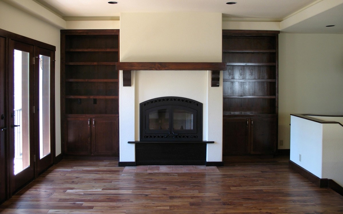 Fireplace Mantel With Adjoining Bookshelves On Custom