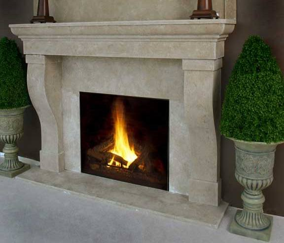 faux river stone fireplace mantel on custom fireplace