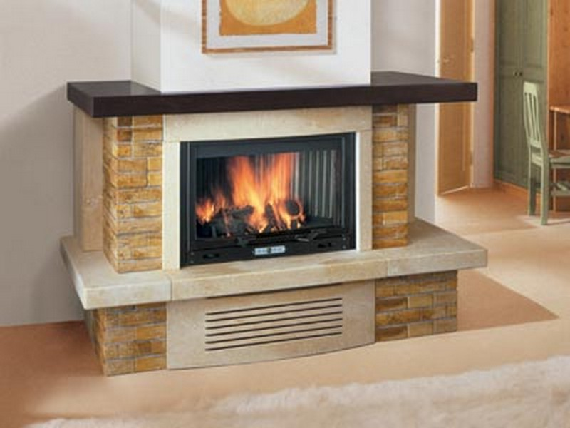 Cherry wood fireplace mantel on Custom-Fireplace. Quality electric ...