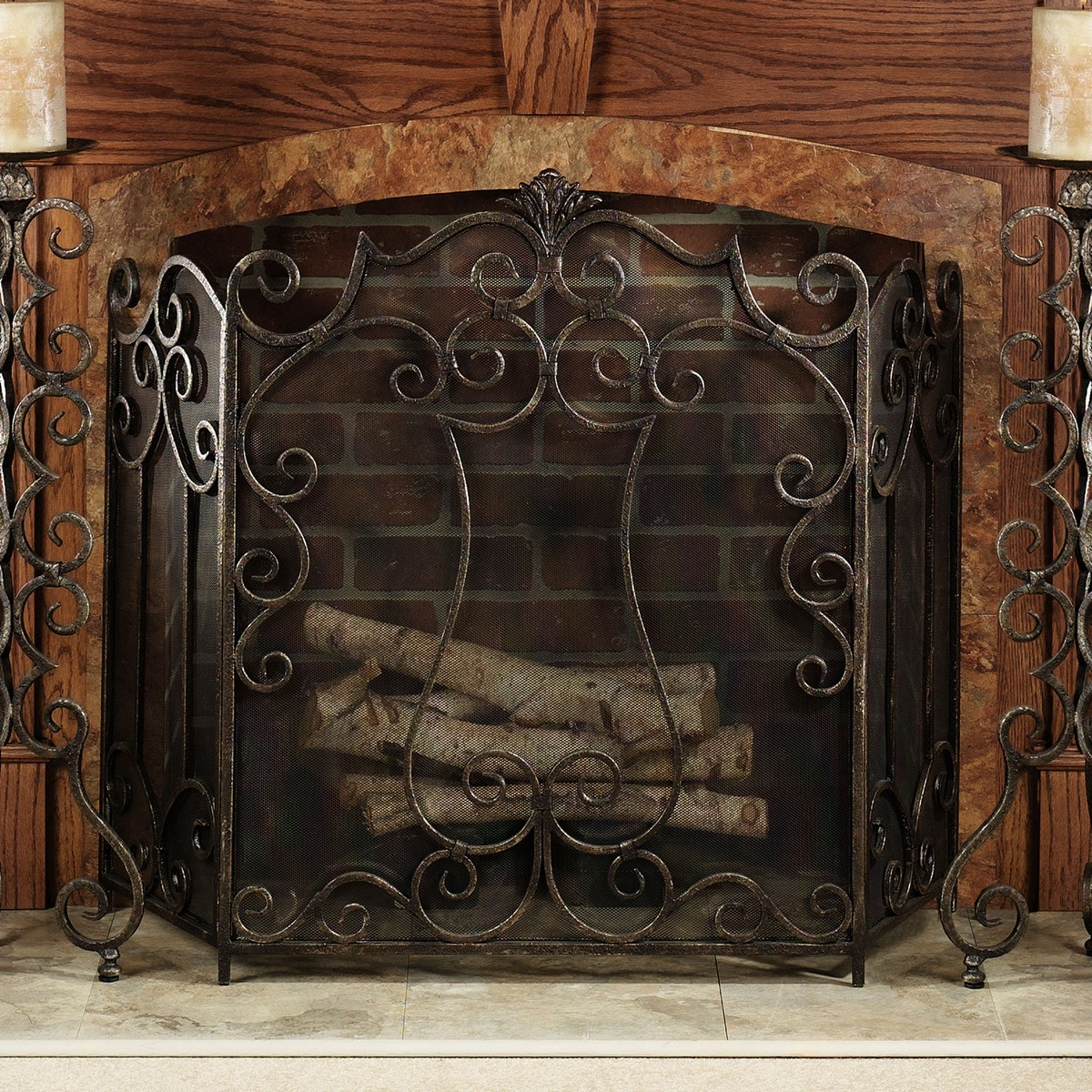 Timber wolf fireplace screen on Custom-Fireplace. Quality ...