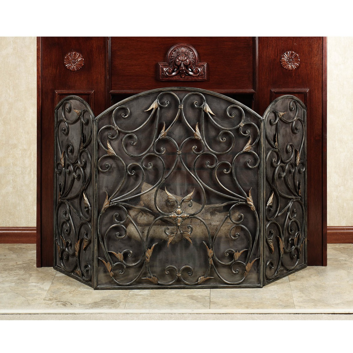 Flat Black Fireplace Screen Arched On Custom Fireplace