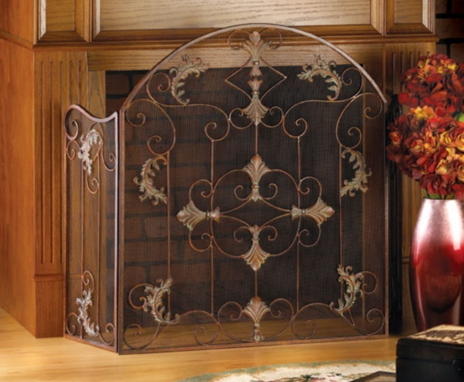 Fireplace Screen And Spark Guard On Custom Fireplace