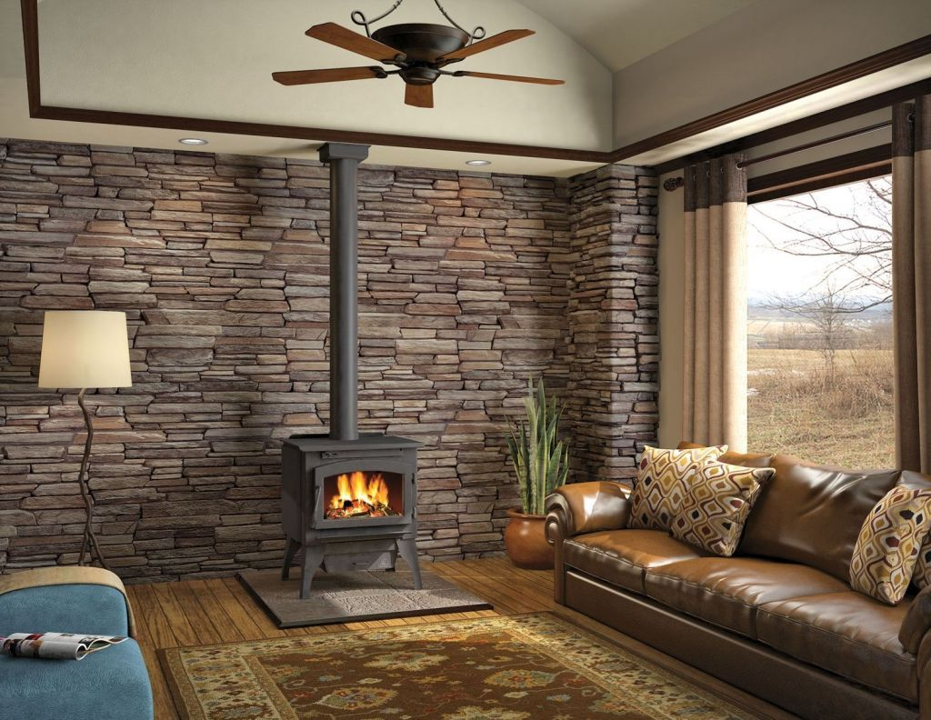 Franklin Wood Burning Stove On Custom Fireplace Quality