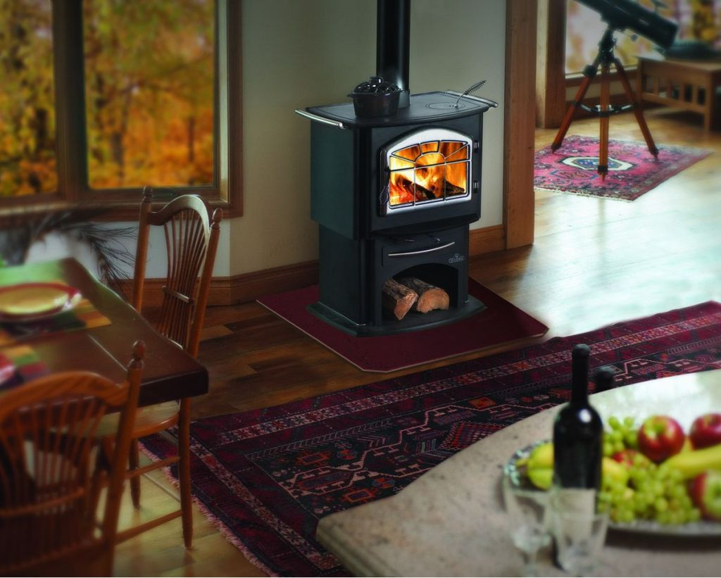 Soap Stone Wood Stove On Custom Fireplace Quality