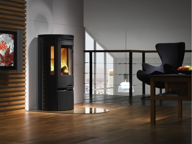 Modern Wood Stove On Custom Fireplace Quality Electric