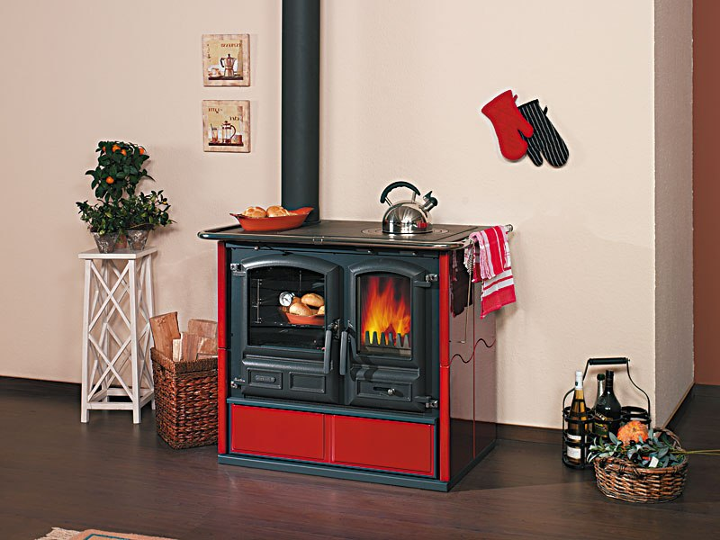 Antique Morso Wood Burning Stove On Custom Fireplace