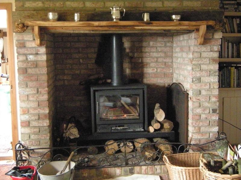 Wood Burner Stove On Custom Fireplace Quality Electric