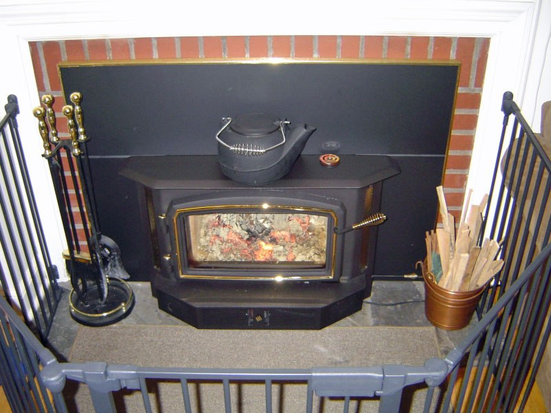 Hearthstone Wood Stove On Custom-Fireplace. Quality Electric, Gas - Taylor Wood Stove WB Designs