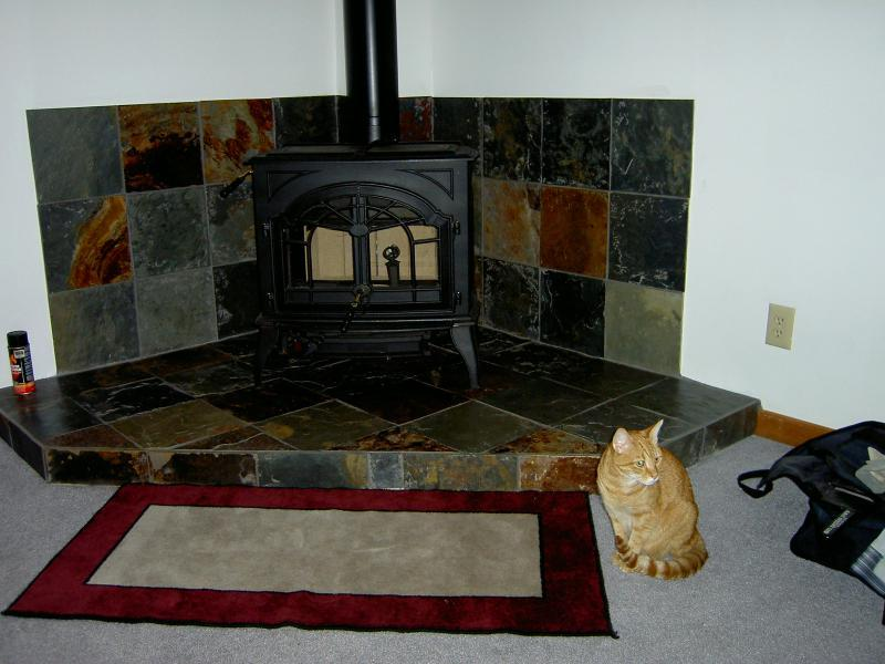 Old Timer Wood Stove On Custom Fireplace Quality Electric