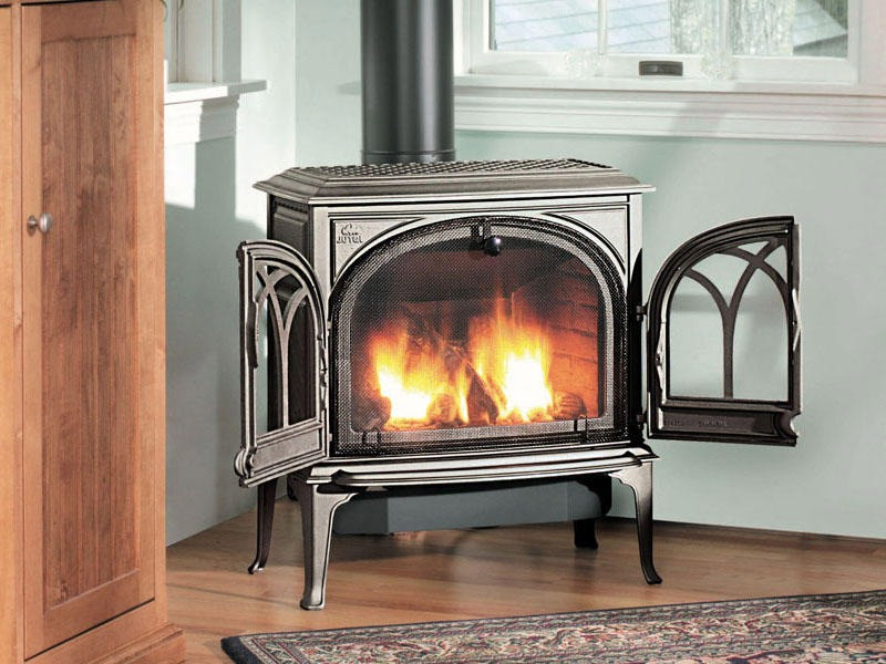 wood fireplace, fireplace bellows, free standing fireplace, luxury cabin outdoor fireplace