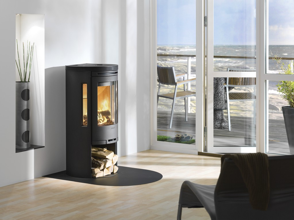 Circular Wood Stove On Custom Fireplace Quality Electric
