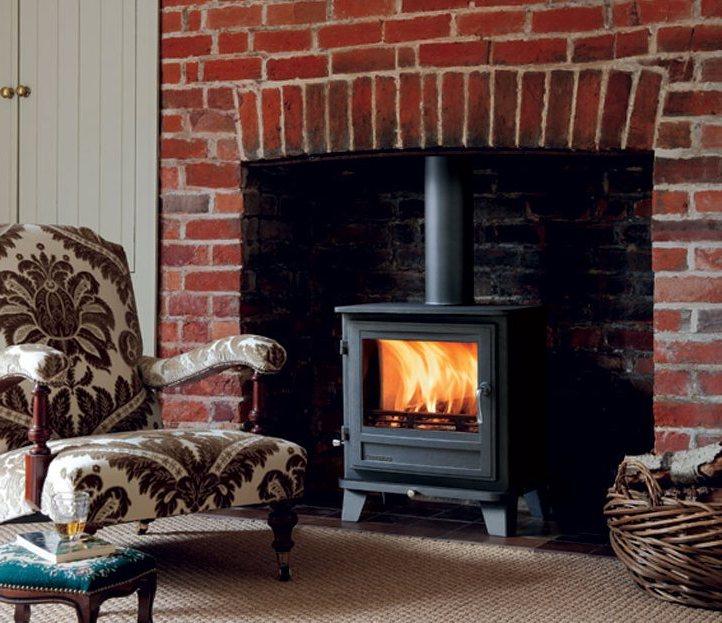 Blaze King Wood Stove On Custom Fireplace Quality